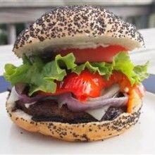 Grilled Portobello Sandwich with Roasted Red Pepper and Mozzarella - VeggieFocus http//veggiefocus.com