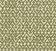 Rabanna Upholstery Fabric 100% Cotton upholstery fabric with large khaki green chevron on cream cotton.