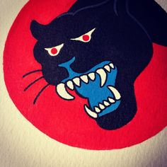 Painted this panther based off a WW2 Army patch. I might do more graphic designs like this. #latenightpaintnight #ww2 #army #panther