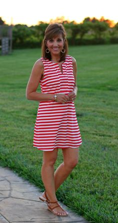 Let's sail away...with this red and white stripe dress, just in time for the 4th of July!