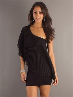 One Shouler Pleated Litter Black Dress PD10609 www.dresseshouse.co.uk $86.0000