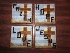 Faith, Hope, Love, Jesus Inspirational Coaster set with holder