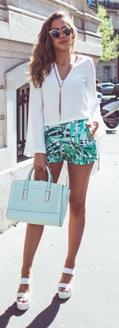 Palm Print Shorts Casual Chic Streetstyle by Kenzas