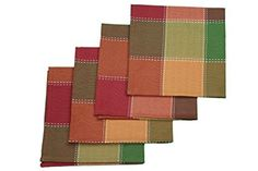 Buy HomeCrate Fall Harvest Autumn Check Collection Napkins X Green, Set Of 4 Fall Harvest, Autumn, Cloth Napkins, Check, Green, Collection, Products, Autumn Harvest, Fall