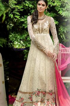 Cream & Pink Georgette Semi Stitched Anarkali Suit