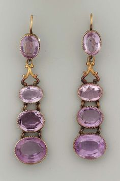 Amethyst earrings, made in the US or Europe in the 19th century (source).