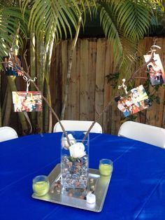 60th Birthday Centerpieces for Men | 60th Birthday centerpieces with old family photos. | Crafts and Gifts
