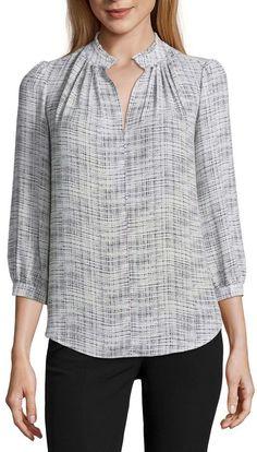 WORTHINGTON Worthington 3/4 Sleeve V Neck Georgette Pattern Blouse
