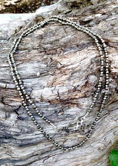 This pyrite gemstone necklace was made in a small home-based workshop in the historic old city of Jaipur, India. - 34 inches with adjustable length and clasp. Gemstone Necklace, Chakra, Gemstones, Diamond, Silver, Jewelry, Jewlery, Gems, Jewerly