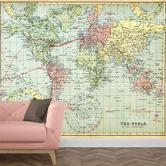 Het fotobehang Wereldkaart antiek geeft de look die jij zoekt. Het fotobehang is op maat en in diverse typen behang verkrijgbaar. Je krijgt altijd eerst een GRATIS digitale drukproef, zodat je precies kunt zien wat je hebt besteld. #fotobehang #behang #vliesbehang #behangen #vlies #zelfklevend #diy #fotomuur #fotoprint #muur #interieur #wereldkaart #antiek #kaart #wereld