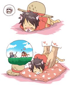 Monkey D. Luffy and Trafalgar D. Water Law cats One piece