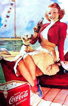Find images and videos about coca cola, Pin Up and coke on We Heart It - the app to get lost in what you love. Pin Up Girl Vintage, Retro Pin Up, Retro Ads, Vintage Diy, Vintage Advertisements, Vintage Labels, Vintage Postcards, Propaganda Coca Cola, Coca Cola Poster