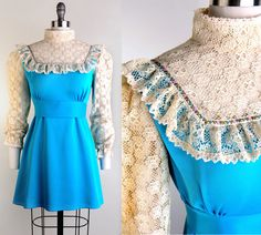Vintage 60s CREAM LACE Mod Dolly Puff Sleeve Blue Empire Mini Dress S/M S M. $78.00, via Etsy.