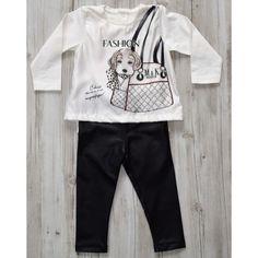 Conjunto body blusinha manga longa com legging preta Mini & Kids