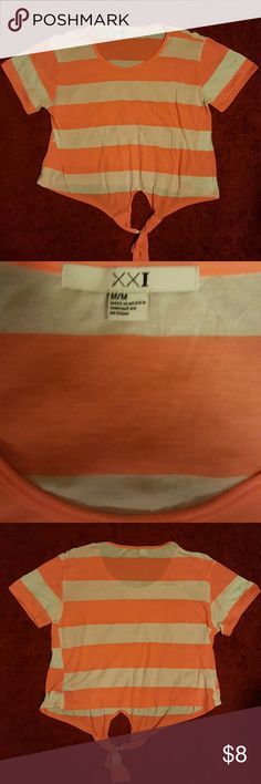Forever 21 neon pink and white striped shirt Forever 21 neon pink and white striped short sleeve t-shirt with tie in the front Forever 21 Tops Tees - Short Sleeve