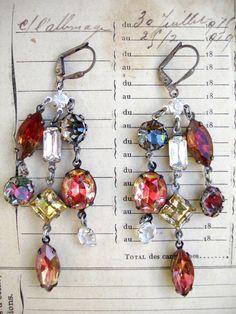 Fall Festoon Repurposed Dangle Earrings by PaulaMontgomery on Etsy, $75.00