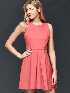 Inverted pleat fit & flare dress Product Image