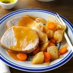 Slow-Cooked Pork Roast Dinner Recipe -This delicious recipe will give you the most tender pork you have ever tasted! You can cut it with a fork, and it's just as moist and tender the next day—if there are any leftovers. &dmash;Jane Montgomery, Piqua, Ohio