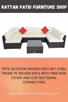 """Rust-resistant steel frame outdoor garden sofa set with durable, weather-resistant PE rattan wicker,study and weather-resistant 2 x Corner sofa+4 x Middle sofa+1 x Coffee table Corner sofa: 27.56""""x27.56""""x25.59"""" inch; Coffee table: 25.59""""x25.59""""x12.6"""" inch; Coffee table: 29.53""""x29.53""""x24.8"""" inch; Middle sofa:29.53″x25.59""""x24.8""""inch Wicker Sofa, Rattan Furniture, Garden Sofa Set, X Coffee Table, Corner Sofa, Steel Frame, Decorating Your Home, Rust, Middle"""