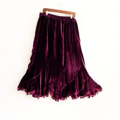 Oxblood maroon velvet flared hem Maxi skirt Plus Size by KheGreen on Etsy
