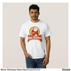 """Merry Christmas Santa Claus Tee Shirt. Men's Christmas t-shirt showing a retro style illustration of Santa Claus on isolated white background with words """"Merry Christmas."""" #christmaspresents #xmasgifts #xmas2015"""