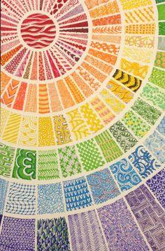 Colours art drawings, zentangle patterns и tangle art. Zentangle Drawings, Doodles Zentangles, Zentangle Patterns, Fabric Patterns, How To Zentangle, Patterns To Draw, Zentangle Pens, Art Drawings, Zen Doodle