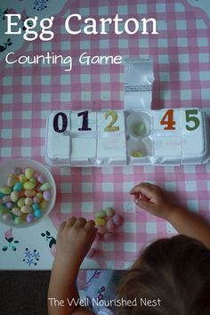 Math Activities for Preschoolers - Counting game using an egg carton! The Well Nourished Nest