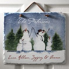 This Christmas Plaque is beautiful! It's the Personalized Snow Family Welcome Plaque from PersonalizationMall ... they have a bunch of designs so you can personalize it for families with up to 6 children! This is a great Christmas gift idea! #Christmas #Snowman Snowmen Pictures, Snowman Pics, Snowman Crafts, Family Painting, Winter Painting, Winter Art, Winter Snow, Painted Slate, Painted Tiles
