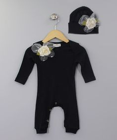 This Black Lace Appliqué Playsuit & Beanie by Truffles Ruffles is perfect! #zulilyfinds