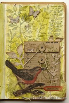Sizzix Tutorial Botanical Pocket Page by AnnaKarin art journal page made with Tim Holtz dies stamps and papers Art Journal Pages, Art Journals, Art Journal Covers, Kunstjournal Inspiration, Art Journal Inspiration, Journal Ideas, Altered Books, Altered Art, Art Doodle