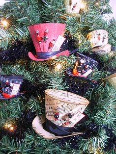 Mad Hatter-style hat ornaments! Tutorial & free printable template at the link.