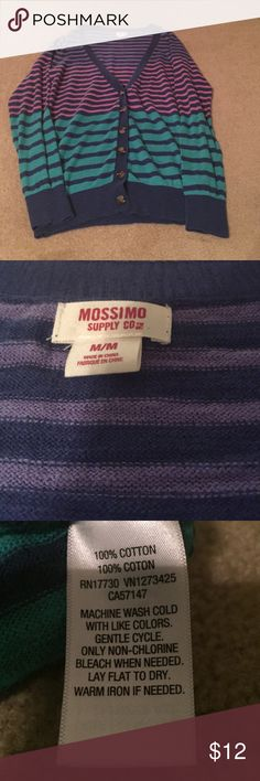 Mossimo size medium purple striped cardigan. Striped cardigan with various shades of blue and purple. Perfect for fall weather! Mossimo Supply Co. Sweaters Cardigans