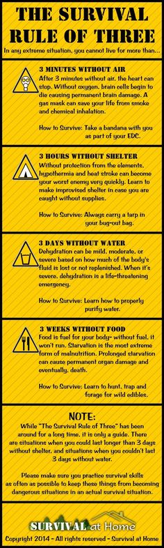 """The very core of survival can be remembered very easily. If you can remember """"The Survival Rule of Three"""", it may save your life in a SHTF situation. * For more information, visit image link. #CampingIdeas"""