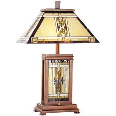 Universal Lighting and Decor Walnut Mission Collection Table Lamp (1,000 ILS) ❤ liked on Polyvore featuring home, lighting, table lamps, lamps, desk lamps, yellow, walnut table lamp, mission style lamps, yellow lights and mission style stained glass