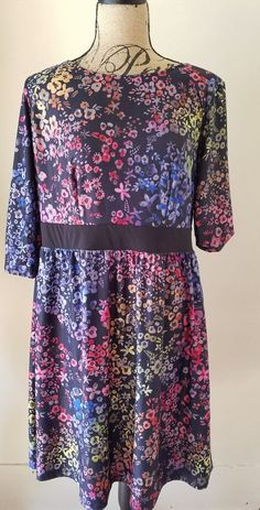 Triste Fit and Flare Floral Dress Slimming Band Plus Size 1X Black Neons #Triste #FitFlareDress #Casual