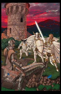 """Tower of Joy: Eddard Stark approaches the tower to find 3 Kingsguard guarding the tower, Ser Oswell Whent, Ser Arthur Dayne """"the sword of the morning"""" and Lord Commander of the Kingsguard, Ser Gerold Hightower."""