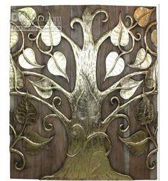 Teak wood carving gold foil painting bodhi tree wall mural paintings