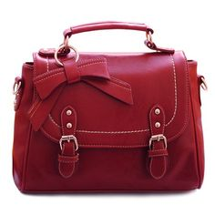 Vintage Solid Color And Bow Design Tote Bag For Women