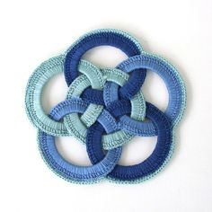 Handmade Blue Crocheted Hot Pad Vintage Trivet Knot Weave