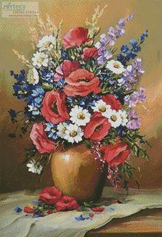 Artecy Cross Stitch. Bouquet of Field Flowers Cross Stitch Pattern to print online.