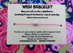 Wildflower Wish Bracelet on pink waxed cord.