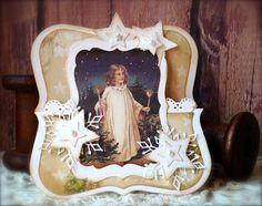 Synnøves Papirverksted: Vintage folding card with angel