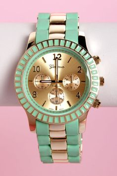 Cute Mint Green Watch - Gold Watch