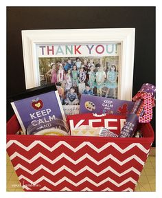 KEEP CALM and CARRY ON - teacher appreciation gift basket