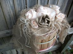 Your place to buy and sell all things handmade Country Wedding Bouquets, Wedding Country, Country Chic, Country Decor, Wedding Bride, Wedding Day, Peach Bouquet, Burlap Roses, Entrance Table