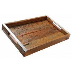 Bandeja retangular Emporio madeira demolição natural 65x40 cm
