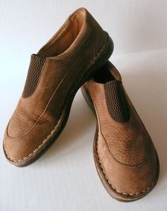 Born Women 7 / 38 Tan Brown Elastic Pebbled Leather Casual Shoes B8245 #Brn #LoafersMoccasins
