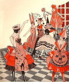 Vintage Halloween costumes illustration