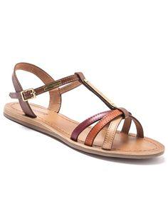 Sandales cuir multibrides orange/naturel, MAXIME ORANGE/TAN