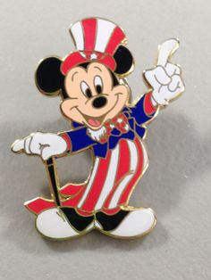 80ebe061d27 Disney Mickey Mouse as Uncle Sam Patriotic American Flag Stars   Stripes Pin